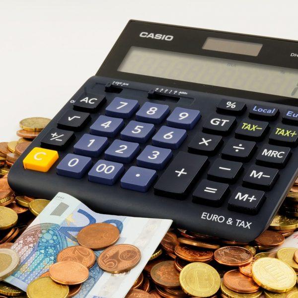 A calculator on a table